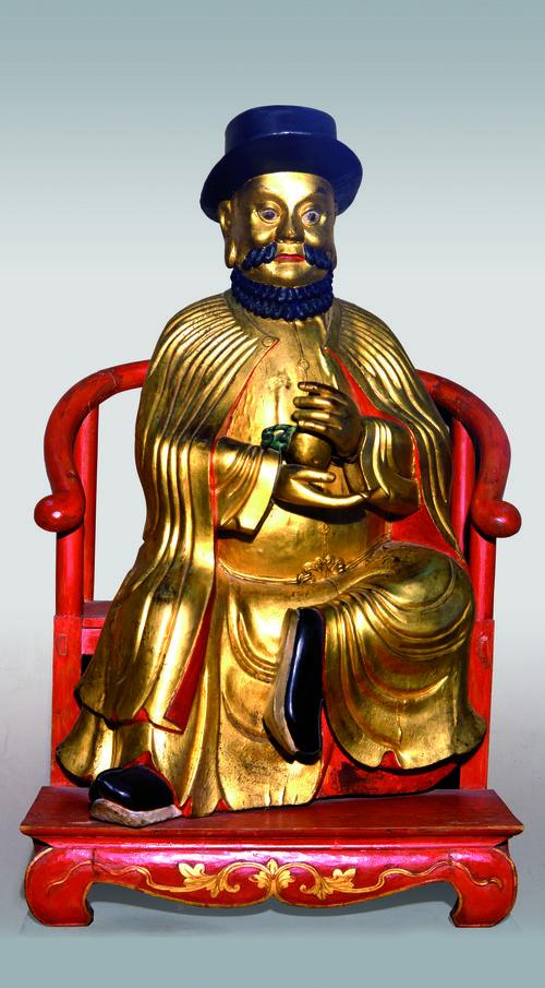 Götterstatue mit Abbild Marco Polos, 19. Jh. (c) Museo Corre