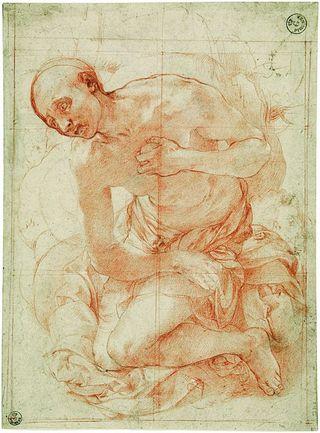 LMHannover-Jacopo_Pontormo__Studie_fuer_Heiligen_Hieronymus_als_Buesser__um_152829__Florenz__Gabinetto